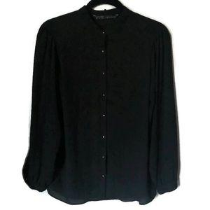Zara Basic Black Long sleeve gold button down top